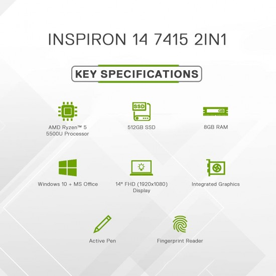 """Dell Inspiron 7415 14"""" FHD Touch Display 2in1 Laptop (R5 5500U / 8GB / 512GB SSD / Integrated Graphics / Win 10 + MSO / Backlit KB + FPR + Active Pen /Green)"""
