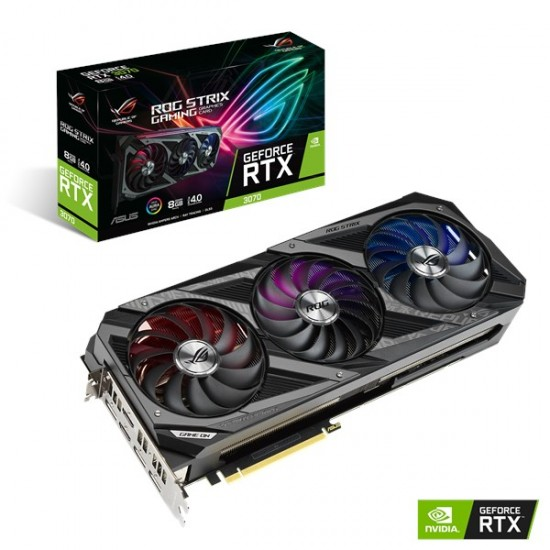 ASUS ROG STRIX NVIDIA GeForce RTX 3070 Gaming Graphics Card (PCIe 4.0, 8GB GDDR6, HDMI 2.1, DisplayPort 1.4a, Axial-tech Fan Design, 2.9-slot, Super Alloy Power II, GPU Tweak II)